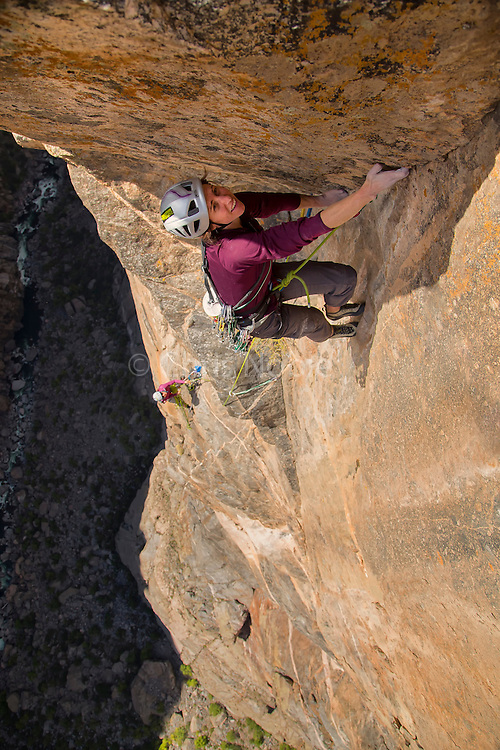 "Madaleine Sorkin climbing the ""Free Nose,"" 12c, North Rim, Black Canyon of the Gunnison."
