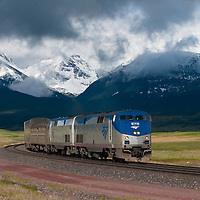 amtrak train empire builder, leaving glacier national park summer