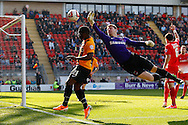 Jamie Jones of Leyton Orient back in goal following a back injury and the recall of Eldin Jakupovic to Hull City denies Aaron McLean of Bradford City during the Sky Bet League 1 match at the Matchroom Stadium, London<br /> Picture by David Horn/Focus Images Ltd +44 7545 970036<br /> 29/03/2014