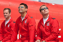 © licensed to London News Pictures. RAF FAIRFORD, UK 09/01/14 Today was the first day of the inquest into the death of Flight Lieutenant  Sean Cunningham who died following an ejection seat accident at RAF Scampton on 8 Nov 2011. FILE PICTURE of Sean Cunningham (right in picture) taken at RAF Fairford on 15/07/11. Photo credit should read Ian Schofield/LNP
