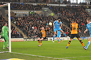 Wolverhampton Wanderers midfielder Dave Edwards (4) scores goal to go 1 all during the Sky Bet Championship match between Hull City and Wolverhampton Wanderers at the KC Stadium, Kingston upon Hull, England on 15 April 2016. Photo by Ian Lyall.