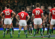The All Blacks and Wales have a stand off after the All Blacks performed the haka. Wales vs New Zealand international rugby test match, Millennium Stadium, Cardiff, Wales. Saturday, 22nd November 2008. Photo: Tim Hales/PHOTOSPORT