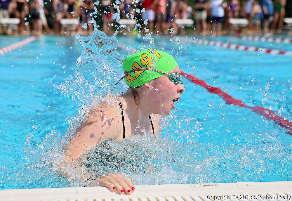 Lion Swim Club's Lauren Reynolds, 17, makes the turn in the Girls 15-17 50 Yard Breaststroke event at the All City Swim Meet at Cherry Hill Aquatic Center in Cedar Rapids on Saturday, July 20, 2013. 623 athletes from ages 4-17 participated in the meet.