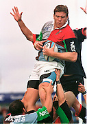 Twickenham, GREAT BRITAIN. Quins' lock, Garrick MORGAN, collects the line out ball during the Harlequins v Saracens on 9/10/1999 at the Stoop. England.  [Mandatory Credit; peter Spurrier; Intersport Images]