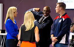 Kriss Akabusi chats with Mitch Eadie of Bristol Rugby and members of the Bristol Sport team after his talk at the Bristol Sport Big Breakfast - Mandatory by-line: Robbie Stephenson/JMP - 29/07/2016 - FOOTBALL - Ashton Gate - Bristol, England - Bristol Sport Big Breakfast - Kriss Akabusi