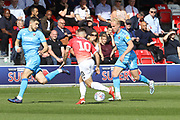 Sean Long, Danny Lloyd and Ryan Broom  during the EFL Sky Bet League 2 match between Salford City and Cheltenham Town at Moor Lane, Salford, United Kingdom on 14 September 2019.