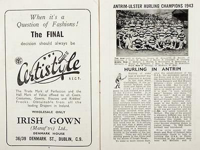 All Ireland Senior Hurling Championship Final, .Brochures,.05.09.1943, 09.05.1943, 5th September 1943, .Antrim 0-4, Cork 5-16,.Minor Dublin v Kilkenny, .Senior Antrim v Cork, .Croke Park, ..Advertisements, Certistyle,..Article, Hurling in Antrim, .