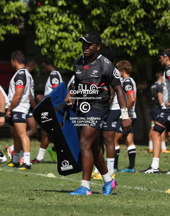 DURBAN, SOUTH AFRICA - FEBRUARY 16: Inny Radebe during the Cell C Sharks training session at Growthpoint Kings Park on February 16, 2017 in Durban, South Africa. (Photo by Steve Haag/Gallo Images)