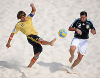 FIFA BEACH SOCCER WORLD CUP 2008 ARGENTINA - SPAIN  24.07.2008 AMARELLE (ESP, l) against Santiago HILAIRE (ARG).