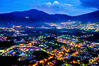 Aerial view of Antigua, Guatemala at sunset with street lights on, taken on Tuesday, Sept. 18, 2018.