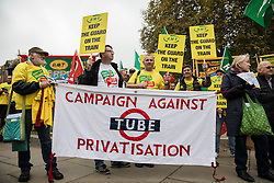 © Licensed to London News Pictures. 01/11/2016. London, UK. Members and supporters of the RMT protest outside Parliament. Strike action over the union's long-running dispute with Southern Rail is set to begin on Friday 4 November. Photo credit: Rob Pinney/LNP