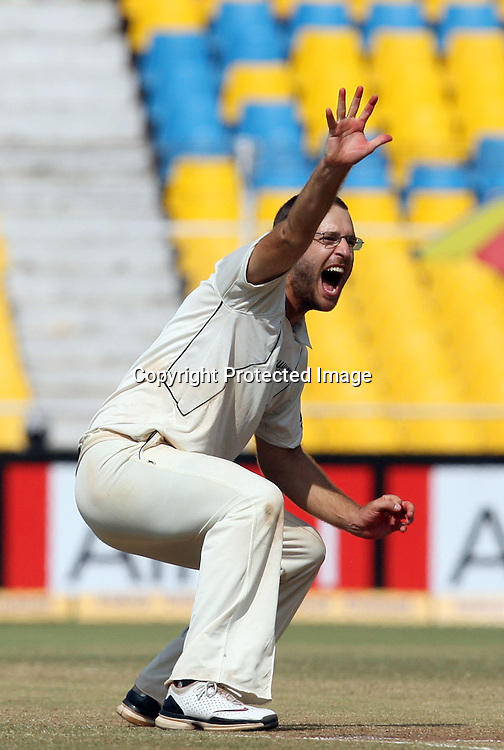 New Zealand Captain Daniel Vettori Celebrates Indian Batsman VVS Laxman Wicket During The 1st Test India vs New Zealand Played at Sardar Patel Stadium, Motera, Ahmedabad