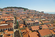 Baixa district seen from Santa Justa lift. On the top of the hill Saint George's Castle can be spoted.