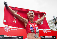 Paula Radcliffe immediately after completing her last marathon in The Virgin Money London Marathon, Sunday 26th April 2015.<br /> <br /> Scott Heavey for Virgin Money London Marathon<br /> <br /> For more information please contact Penny Dain at pennyd@london-marathon.co.uk