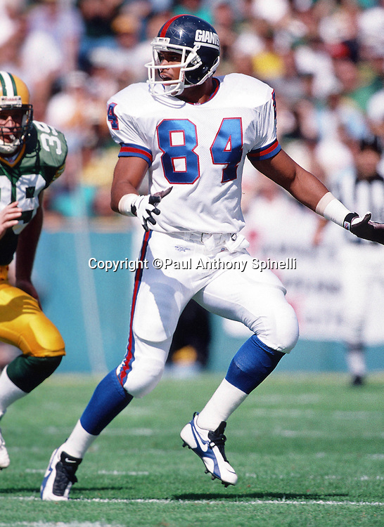 New York Giants tight end Aaron Pierce (84) goes out for a pass during the NFL football game against the Green Bay Packers on Sept. 17, 1995 in Green Bay, Wis. The Packers won the game 14-6. (©Paul Anthony Spinelli)