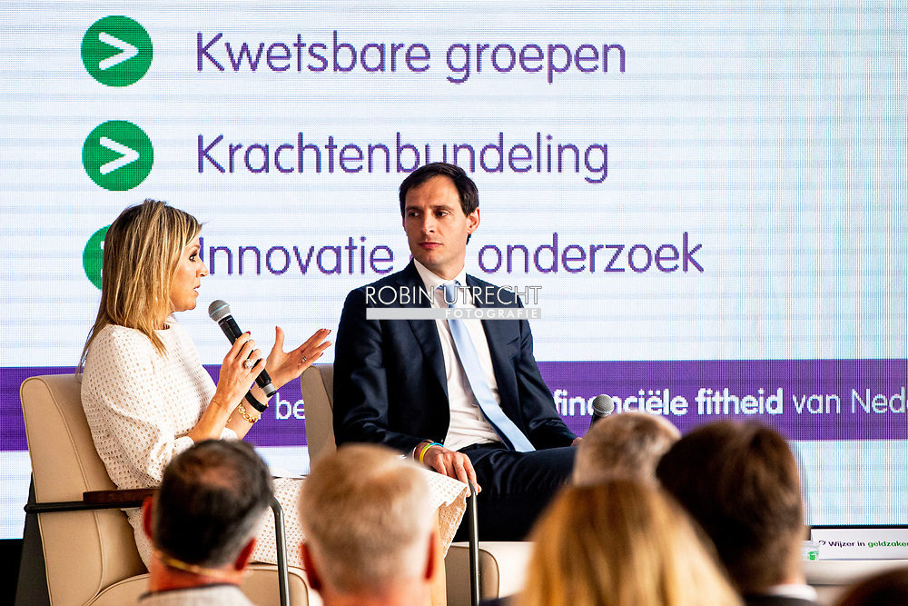 Queen Maxima of The Netherlands attends the annual meeting of platform Wijzer in Geldzaken (Money Wiser) together with Minister of Finance Wopke Hoekstra in The Hague, The Netherlands, 28 May 2019. robin utrecht