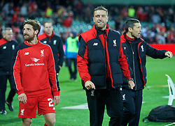 ADELAIDE, AUSTRALIA - Monday, July 20, 2015: Liverpool's Joe Allen and Rickie Lambert after the 2-0 victory over Adelaide United during a preseason friendly match at the Adelaide Oval on day eight of the club's preseason tour. (Pic by David Rawcliffe/Propaganda)
