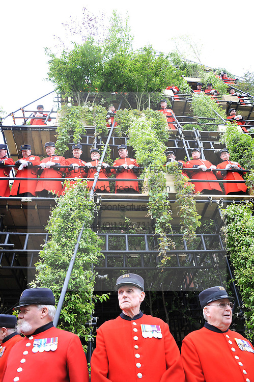 Chelsea Pensioners on show garden by Diarmuid Gavin at the 2012 RHS Chelsea Flower Show held at Royal Hospital Chelsea, London on 21st May 2012.