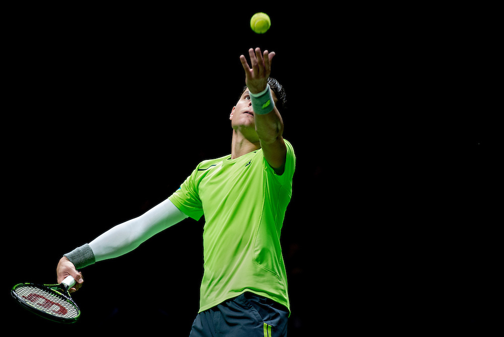 Netherlands. Rotterdam, 14-02-2015. Photo: Patrick Post. Milos Raonic of Canada during the 42nd ABN AMRO world tennis tournament at Ahoy Arena in Rotterdam.