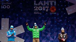 24.02.2017, Lahti, FIN, FIS Weltmeisterschaften Ski Nordisch, Lahti 2017, Herren Langlauf, 10km Sprint, Medaillen Zeremonie, im Bild Silbermedaillengewinner Sergey Ustiugov (RUS), Goldmedaillengewinner Federico Pellegrino (ITA), Bronzemedaillengewinner Johannes Hoesflot Klaebo (NOR) // Silvermedalist Sergey Ustiugov of Russia Goldmedalist Federico Pellegrino of Italy Bronzemedaliost Johannes Hoesflot Klaebo of Norway during the Medal Award Ceremony for the men's Cross Country Sprint competition of FIS Nordic Ski World Championships 2017. Lahti, Finland on 2017/02/24. EXPA Pictures © 2017, PhotoCredit: EXPA/ JFK