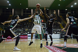 November 8, 2017 - Avellino, Campania, Italy - Pass of Thomas Scrubb of Sidigas AVellino during third day of Champions League match between Sidigas Avellino v Cez Nymburk at Palasport Giacomo Del Mauro, Avellino, Italy November on 8, 2017. Avellino won 80-63. (Credit Image: © Paolo Manzo/NurPhoto via ZUMA Press)