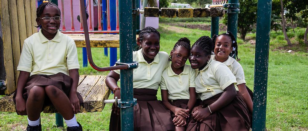 5th Graders (L-R) Rachel Nelson, Oniyah Malone, Ri'Ana Gregory, Neja Thomas, Aisha James.  First Day of School at Joseph A. Gomez Elementary School. 4 September 2012.  © Aisha-Zakiya Boyd