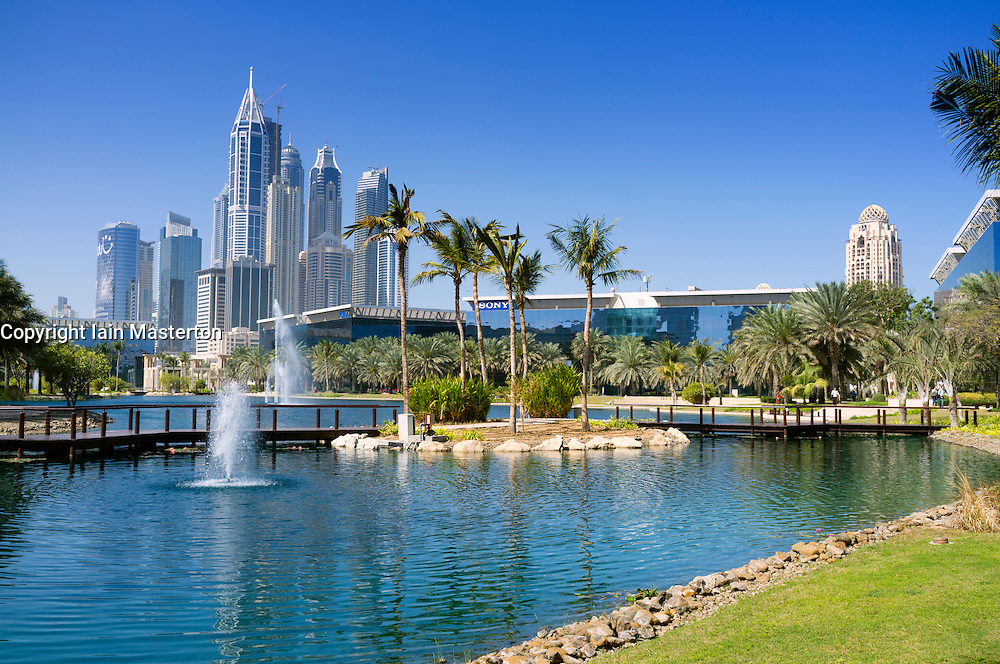 office buildings and lake at Dubai Internet City in United Arab Emirates UAE