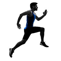 one caucasian runner sprinter running sprinting athletics man silhouette isolated on white background