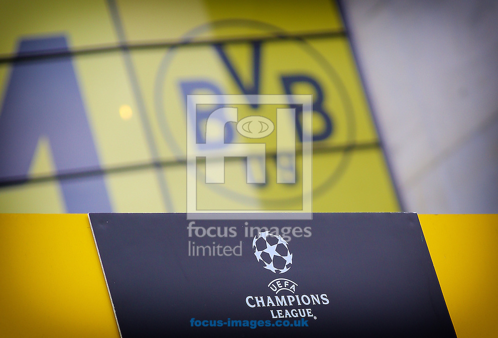 The club logo of Borussia Dortmund and Champions League branding, situated outside of the stadium before the UEFA Champions League match against Real Madrid at Westfalenstadion, Dortmund<br /> Picture by Richard Calver/Focus Images Ltd +447792 981244<br /> 08/04/2014