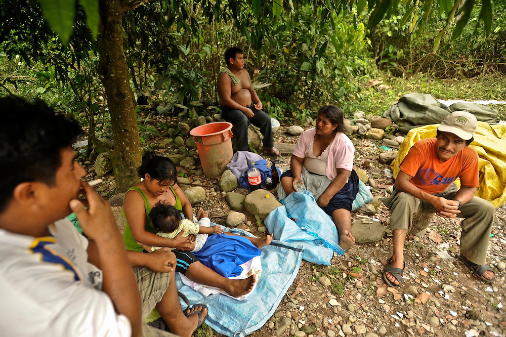 A family of coca growers takes a break to rest and drink soda and beer under a tree after drying coca leaves in the Chapare region of Bolivia. It's estimated that 90 percent of coca from the Chapare goes to the drug trade.