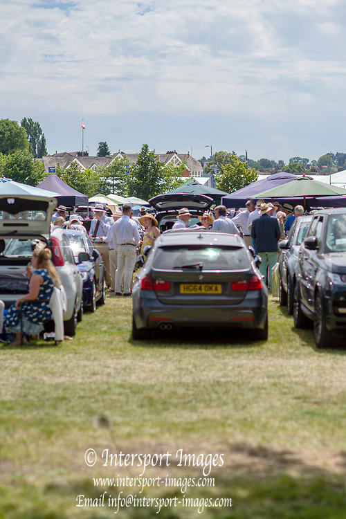 Henley on Thames, England, United Kingdom, 5th July 2019, Henley Royal Regatta, Picnickers in  Lion Meadow,  [© Peter SPURRIER/Intersport Image]<br /> <br /> 14:09:53 1919 - 2019, Royal Henley Peace Regatta Centenary,
