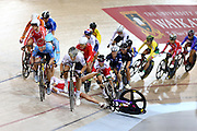 Alison Beveridge of Canada (left) and Annette Edmondson of Australia out front in the Women's Omnium Points race during the UCI Cycling World Cup at the Avantidrome, Cambridge, New Zealand, Sunday, December 06, 2015. Credit: Dianne Manson/CyclingNZ/UCI