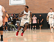 No Shnacks gaurd Deshon Taylor runs across court to defend during a Drew League basketball game, Saturday, June 8, 2019, in Los Angeles.  (Dylan Stewart/Image of Sport)