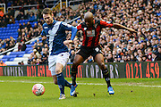 Birmingham City defender Jonathan Grounds and Bournemouth striker Tokelo Rantie battle for the ball during the The FA Cup third round match between Birmingham City and Bournemouth at St Andrews, Birmingham, England on 9 January 2016. Photo by Alan Franklin.