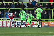 Cheltenham Town's Mohamed Eisa(20) shoots at goal scores a goal 1-1 during the EFL Sky Bet League 2 match between Forest Green Rovers and Cheltenham Town at the New Lawn, Forest Green, United Kingdom on 25 November 2017. Photo by Shane Healey.