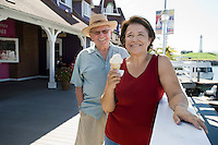 Senior couple, woman eating ice cream