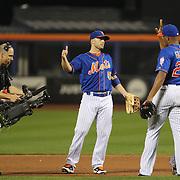 David Wright, New York Mets, celebrates a Mets win during the New York Mets Vs New York Yankees MLB regular season baseball game at Citi Field, Queens, New York. USA. 18th September 2015. Photo Tim Clayton