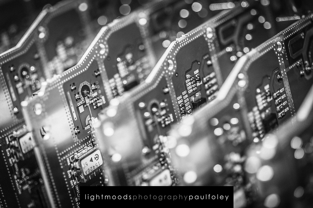 Black and white conceptual views of computer circuit board