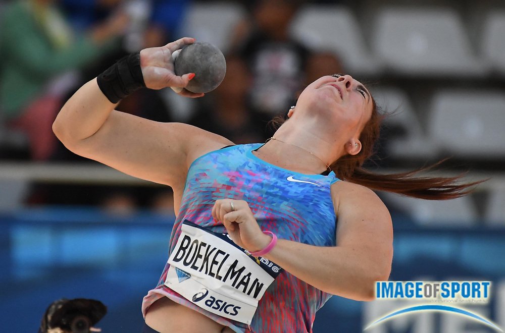 Jul 1, 2017; Paris, France; Melissa Boekelman<br /> (NED) places eighth in the women's shot put 56-6 (17.22) during the Meeting de Paris in an IAAF Diamond League meet at Stade Charlety.