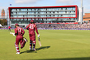 Evin Lewis & Chris Gayle open the batting for the West Indies during the One Day International match between England and West Indies at Old Trafford, Manchester, England on 19 September 2017. Photo by George Franks.
