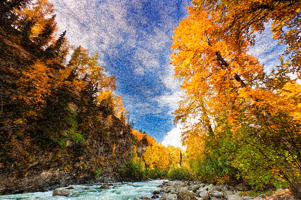 Oil Painting rendition of the peak fall colors and clifffs towering over the Little Susitna River in Hatcher Pass in Southcentral Alaska. Fall. Afternoon.