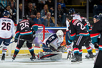 KELOWNA, CANADA - OCTOBER 13:  Talyn Boyko #31 of the Tri-City Americans makes a save during first period against the Kelowna Rockets on October 13, 2018 at Prospera Place in Kelowna, British Columbia, Canada.  (Photo by Marissa Baecker/Shoot the Breeze)  *** Local Caption ***
