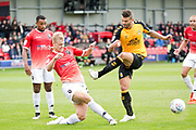 Cambridge United forward Marc Richards tackled by the opponent during the EFL Sky Bet League 2 match between Salford City and Cambridge United at Moor Lane, Salford, United Kingdom on 12 October 2019.