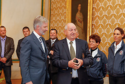 HRH Prince Philippe of Belgium receives the medalist from the Alltech FEI World Equestrian Games in Lexington  Kentucky 2010 at the Royal Palace in Brussels<br /> Speaking to Mr Jacky Buchmann, president of the Belgian Federation<br /> Also in the picture John and Jurgen Panis (owners of Bufero van het Panishof, horse of Dirk Demeersman), Joris De Brabander (owner Vigo d'Arsouille, horse of Philippe Lejeune), Ann D'Ieteren and Michelle George.<br /> © Dirk Caremans