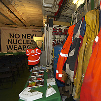 safety gear and clothing on board the Greenpeace ship MV Arctic Sunrise