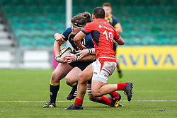 Tom Furnival (Worcester Sixth Form College) of Worcester Warriors U18 is challenged by Manu Vunipola of Saracens U18 - Rogan Thomson/JMP - 16/02/2017 - RUGBY UNION - Sixways Stadium - Worcester, England - Worcester Warriors U18 v Saracens U18 - Premiership Rugby Under 18 Academy Finals Day 5th Place Play-Off.