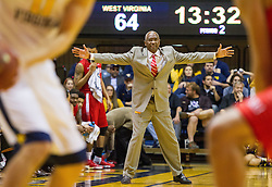 Dec 20, 2016; Morgantown, WV, USA; Radford Highlanders head coach Mike Jones yells from the bench during the second half against the West Virginia Mountaineers at WVU Coliseum. Mandatory Credit: Ben Queen-USA TODAY Sports