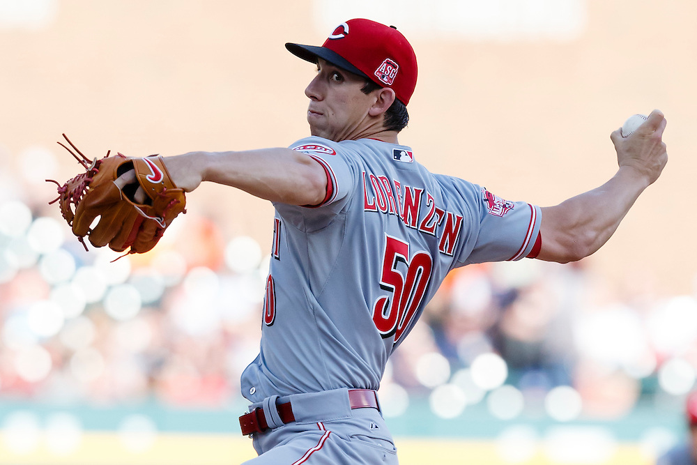 Jun 16, 2015; Detroit, MI, USA; Cincinnati Reds starting pitcher Michael Lorenzen (50) pitches in the first inning against the Detroit Tigers at Comerica Park. Mandatory Credit: Rick Osentoski-USA TODAY Sports