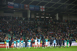 Players of Slovenia celebrate after football match between National teams of Slovenia and England in Round #3 of FIFA World Cup Russia 2018 Qualifier Group F, on October 11, 2016 in SRC Stozice, Ljubljana, Slovenia. Photo by Vid Ponikvar / Sportida