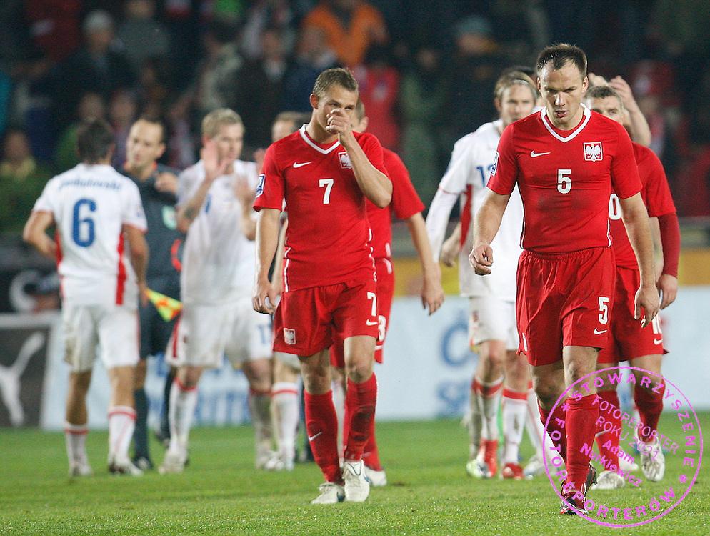 FIFA World Cup.European Qualifying Group 3 ..Czech Republic v Poland .Saturday  10 October 2009 ..Jakub Rzezniczak /L/ and Arkadiusz Glowacki /R/ of Poland ..Photo by : Piotr Hawalej / WROFOTO